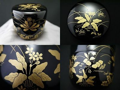 "Japan Lacquer Wooden Tea Caddy Natsume w/ design in maki-e. ""SPRING FIELD"" (F10)"