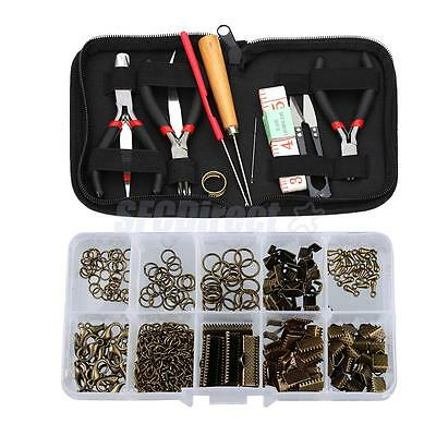 12pcs Jewellery Crafting Kit With Case Pliers Beading Sets Findings Kit