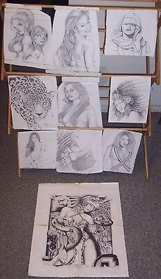 Lot Of 10 Original Prison Art Drawings California Signed By Artist
