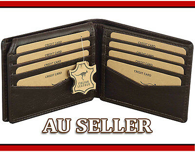 LEATHER Wallet MENS GENUINE LEATHER Purse BLACK LUXURY Trifold Card Holder Purse