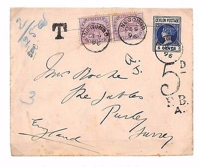 DBAP142 1896 CEYLON UNDERPAID Uprated Postal Stationery Negombo Taxe/GB London