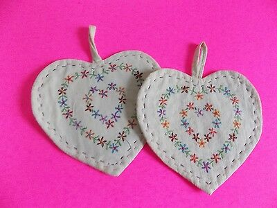 Vintage Handmade Pot Holders Hand Sewn Embroidered Hearts