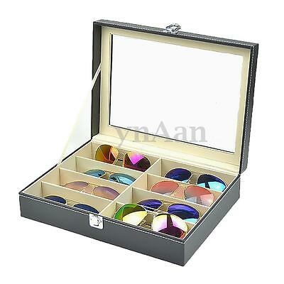 8 Slots PU Leather Sunglasses Glasses Display Storage Case Organizer Box Gift