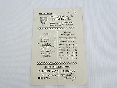 1945-46 RUGBY LEAGUE HULL v HALIFAX PROGRAMME