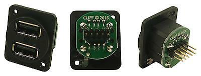 Cliff Electronic Components - CP30100X - Connector, Xlr Dual Usb2 Plain Holes