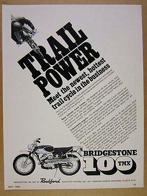 1969 Bridgestone 100 TMX Trail Cycle motorcycle photo vintage print Ad