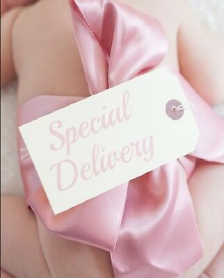 Ribbon & Tag Delivery Tag Pink + Blue Photo Photography Prop Newborn Boy or Girl