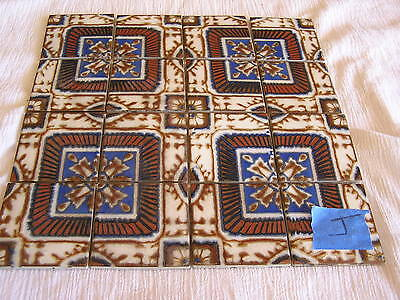 "Handmade Tuscan Mexican 12x12"" Tile Sheet Blue Brown Intricate Design Japan  J"