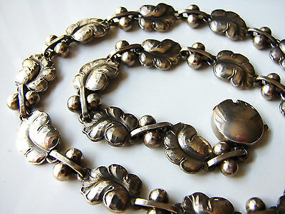 RARE GEORG JENSEN Hallmarked Sterling Silver Moonlight Grapes Necklace - 17inch