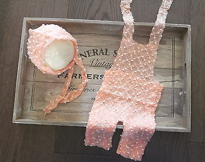 Newborn Peach Knitted Dungaree Romper Bonnet Handmade Set Photography Prop Baby