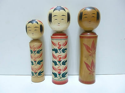 Jananese Doll KOKESHI Cute 3 Kokeshi Natural Wood Hand Painted From Japan コ002