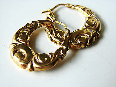 9ct 375 Victorian Style Yellow Gold Hoop / Loop Earrings