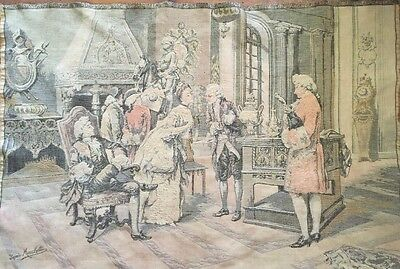 Antique Vintage Pictorial Tapestry French Royalty Parlor Scene D'arpes Marchetti