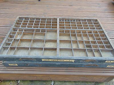 Antique Vintage French Printers Tray / Letterpress / Drawer Display