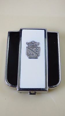 Vintage Art Deco Compact Black White Enamel Silver Crown Crest Mirror Engraved