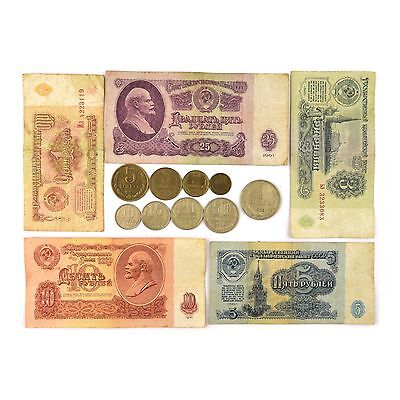 Ussr Full Set 9 Soviet Russian Coins Kopecks + 5 Ruble Banknotes 1961 Collection