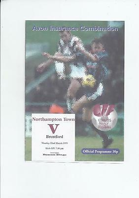 Northampton Town Reserves Home v Brentford Reserves Football Programme 1998/99