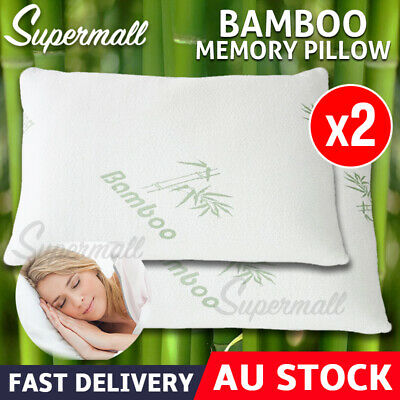 2X 70 x 40cm Memory Foam Bamboo Pillow Fabric Fibre Cover Vertebra Care