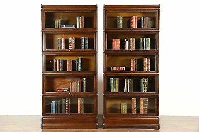 Pair of Globe Wernicke Signed 1900 Antique Oak 5 Stack Lawyer Bookcases