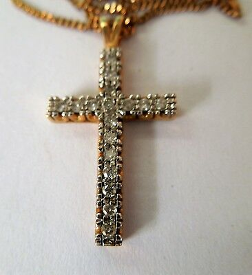 Diamond Cross, 10ct Gold set with .25 carat Diamonds &  9ct Gold Chain