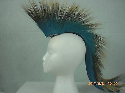 Porcupine Roach, Turquoise 20 inch Out, Turquoise with Bright Blue Yarn Base