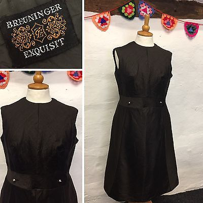 SIZE 14 VINTAGE LATE 50s EARLY 60s DARK BROWN PENCIL DRESS BUTTON DETAIL