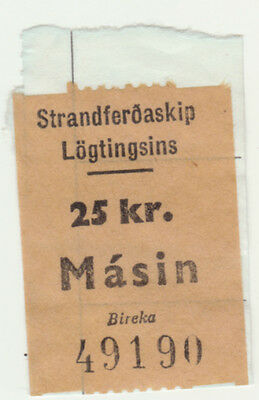 Faroe Islands 1966 3rd Issue freight stamp Ship Masin 25Kr on small piece.