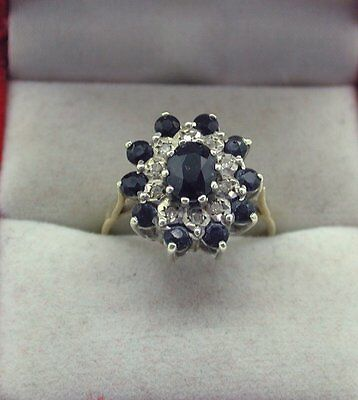 Beautiful 9ct Gold Large Sapphire And Diamond Cluster Ring Size Q.1/2