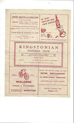 Kingstonian v Dulwich Hamlet Football Programe 1947/48 Surrey Senior Cup