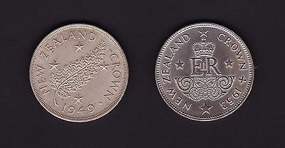 New Zealand 1949 & 1953 Crown coins