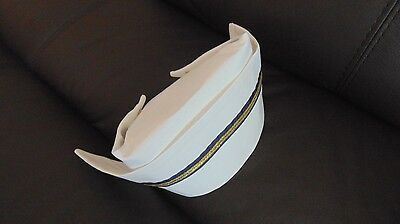 Vintage look nurse hat cap US Navy style cotton fabric with gold navy stripe NEW