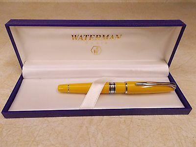 Waterman Yellow Charleston  Ball Point Pen, New In Box With Instructions