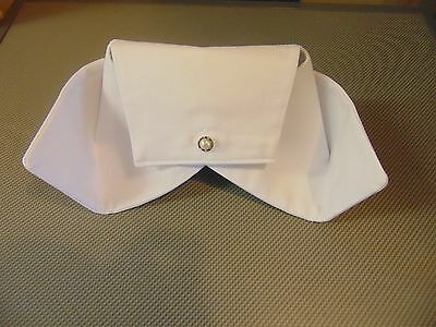 Vintage look nurse hat white cotton fabric starched type button back cap NEW