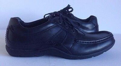 Clarks Mens Black Leather Casual Lace Up Shoes Walking Rubber UK 7 EU 40 Office
