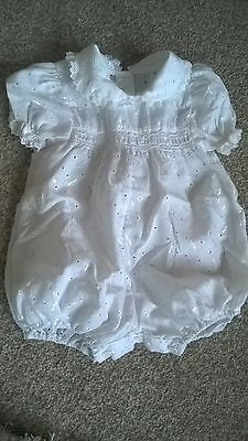 Vintage Baby White Romper Suit Smock detail Unused Excellent Condition 22 months