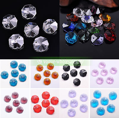 10pcs 14mm Octagon Double Hole Clear Faceted Crystal Glass Loose Replace Bead