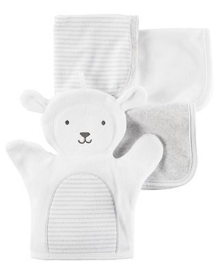 New Carter's 3 Pack Washcloths & Mitten Bath Time Girl's Boy's Towels Lamb Sheep