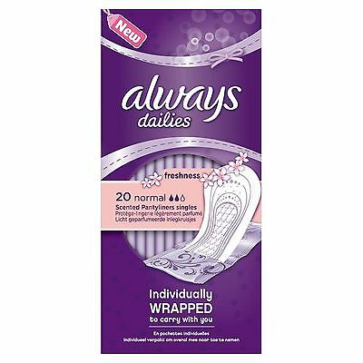 Always Dailies Singles Normal 20 Pantyliners