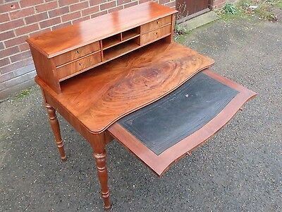 Victorian antique solid Cuban mahogany serpentine 5 drawer writing table desk