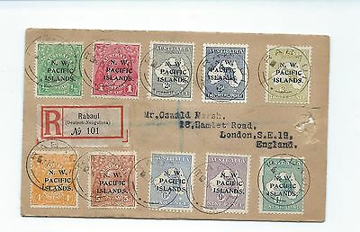 New Guinea 1918 registered cover to London 10 values tied Rabual datestamps