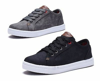 New Boys Girls Tennis Shoes Canvas Lace Up Sneakers Skate Casual Kids Casual