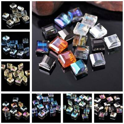 10/30Pcs 10mm Flat Square Cube Faceted Crystal Glass Loose Beads Jewelry Making