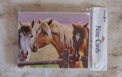LEANIN TREE Grey, Palomino, Chestnut Horses at the Fence #35308~8 Notecards