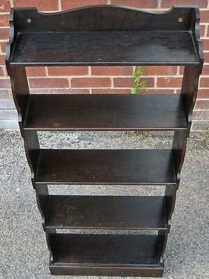 Victorian antique Arts & Crafts solid fumed oak 5 shelf open library bookcase