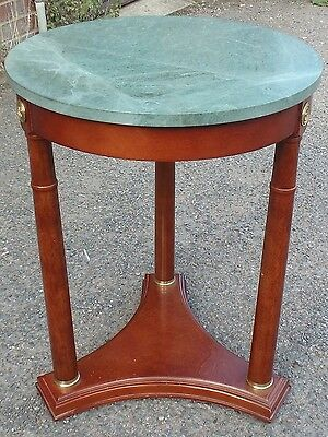 French Empire antique style mahogany gilt brass marble circular occasional table