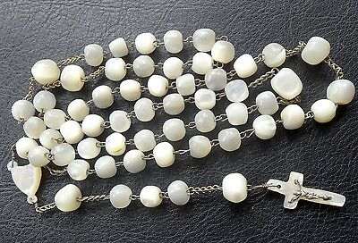 antique Edwardian carved mother of pearl crucufix cross rosary necklace -D457