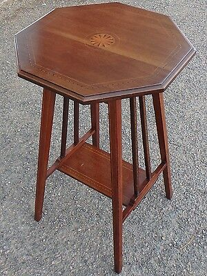 Edwardian antique solid Cuban mahogany inlaid octagon side lamp occasional table