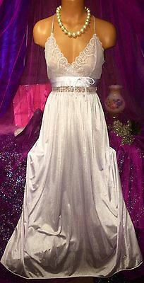 Vintage Purple Plunge Nylon Sheer Lace Nightie Peignoir Long Sweep Gown S