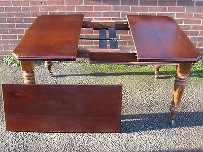 Victorian antique Arts & Crafts mahogany 1 leaf extending dining table seats 8