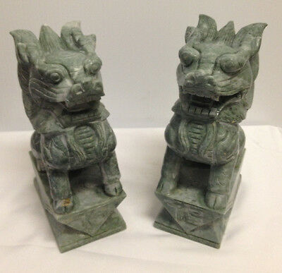 Temple Lions - Foo Dog Statue * Carved Chinese Solid Jade stone Figures Bookends